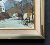 Ronald Folland Original Signed Winter Hamlet Landscape Oil Painting (9 of 12)