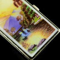 English Solid Silver Enamel Cigarette Case with Landscape Scene - A.J.P London 1927 (12 of 14)