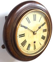 Rare HAC 7 Inch Dial Wall Clock Oak surround painted dial station clock (2 of 5)
