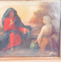 19th Century Oil on Canvas Double Sided Shepard. Jesus & Mary Magdalene (7 of 13)