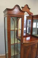 Antique Quality Shaped Mahogany Mirror Back Display Cabinet (4 of 7)