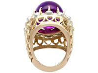 21.43ct Amethyst & 1.07ct Diamond, 14ct Yellow Gold Dress Ring - Vintage c.1960 (4 of 9)