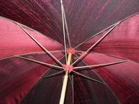 Vintage Hand Carved Handled Umbrella With Burgundy Canopy & Tassel (2 of 13)