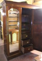 1900s Large 3 Door Mahogany Mirrored Wardrobe with Inlay. Good Interior (4 of 5)