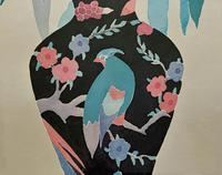 Large Original Japanese Inspired Floral Still Life Watercolour Painting (8 of 12)