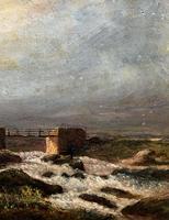 Original 19th Century Period Antique Scottish Highland Bridge Landscape Oil Painting (6 of 11)
