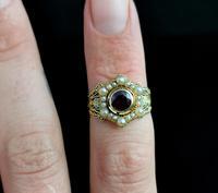 Antique Mourning Ring, 18ct Gold, Enamel, Pearl & Garnet - William IV (13 of 13)