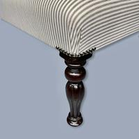 Long and Low Buttoned Footstool in Ticking (2 of 8)