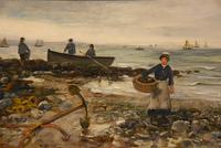 "Oil painting by Arthur Wellesley Cottrell ""Low Tide, Mumbles, South Wales"" (3 of 4)"