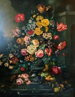 Dutch 18thc Manner RARE Huge Pair Vintage Fruit Floral Still Life Oil Paintings (20 of 23)