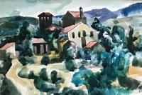 Original watercolour 'A Tuscan village' by Toby Horne Shepherd 1909-1993. Signed and framed. (2 of 2)