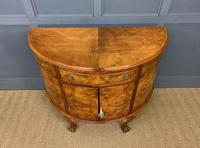 Burr Walnut Queen Anne Style Demi Lune Commode (3 of 11)