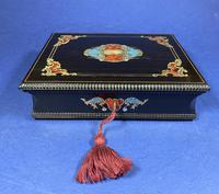 19th century French Ebony, Brass Lacquer & Red Tortoiseshell Jewellery Box (10 of 17)