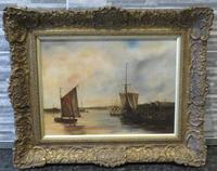 Fishing Vessels Comming Into Harbour by C.m.maskell 1846-1933
