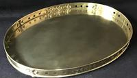 Arts & Crafts Brass Oval Gallery Tray (3 of 5)