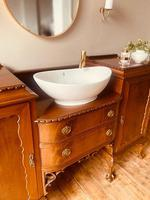 French Antique Style Washstand / Vanity / Cupboard With Basin Sink (2 of 8)