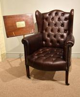 Edwardian Mahogany Leather Wing-back Armchair (3 of 10)
