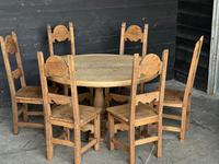 French Round Bleached Oak Farmhouse Dining Table (16 of 19)