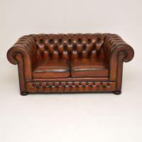 Antique Victorian Style Leather 2 Seat Chesterfield Sofa (5 of 13)