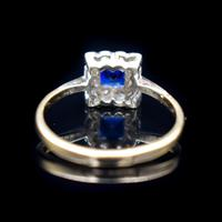 Art Deco Blue Spinel and Clear Spinel 9ct Gold Square Cluster Ring (3 of 9)