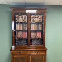 Exceptional Inlaid Victorian Antique Glazed Bookcase by Edwards and Roberts (4 of 10)