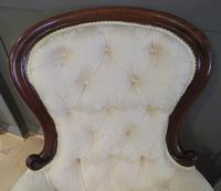 Victorian Walnut Armchair upholstered Cream Brocade (7 of 11)