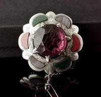 Victorian Scottish Agate & Amethyst Brooch, Sterling Silver (5 of 11)