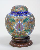 Antique Champleve Cloisonne Lidded Jar on Stand (2 of 7)