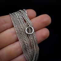 """Antique Silver Long Guard Muff Chain Necklace with Bolt Ring 48"""" Length (6 of 6)"""