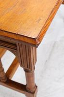 Victorian Gothic Revival Oak Dining Table / Stretcher Table (4 of 13)