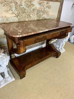 Regency Burr Walnut Console Table with Marble Top (9 of 9)