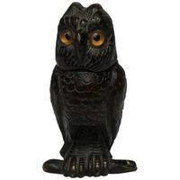 Victorian 19th Century English Bronze Bird Tawny Owl Vesta Match Case Striker