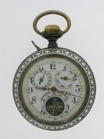 Full Calendar Silver & Gunmetal Open Face Pocket Watch Swiss 1920