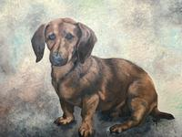 20th Century English Portrait Dachshund Sausage Animal Dog Oil Painting (2 of 12)