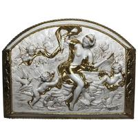 """Fine 20th Century """"Venus Of The Doves"""" Cupids Arched Gilt Plaster Wall Plaque"""