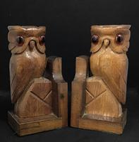 Pair of Vintage Carved Owl Bookends (4 of 5)