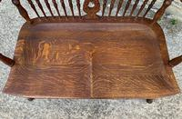 Unusual Oak Arts & Crafts Bench (15 of 18)