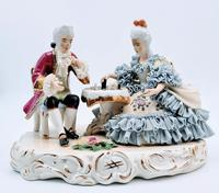 Dresden Germany Figurine Sculpture of Couple Playing Chess (2 of 6)