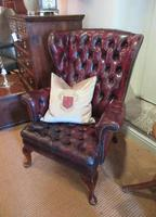 Antique Leather Chesterfield Wing Armchair (4 of 7)