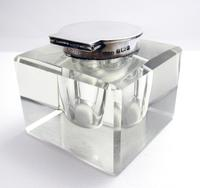 Elegant Large CUBE Antique Edwardian Solid Sterling Silver & Cut Glass English Inkwell Ink Pot Box, Plain 1902 (4 of 8)