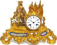 Antique 8 Day Ormolu Mantel Clock Sevres Cavalier Explorer French Mantle Clock (3 of 6)