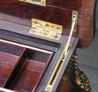 Fine Quality 19th Century French Ebonised & Amboyna Serpentine Sewing Table (8 of 21)