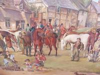 Oil on Board 'a hunting we do go' Artist R M Crompton 1930s (5 of 10)