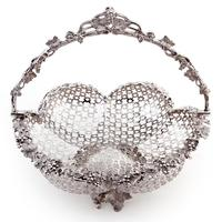Decorative Cast Victorian Silver Plated Basket with a Pierced Ribbed Body (3 of 8)