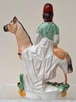 Pair of Antique English Victorian Staffordshire Pottery Figures of Mounted Jockeys ~ H 3312 / H 3313 (4 of 12)