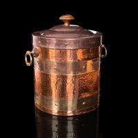 Antique Fireside Bin, English, Copper, Brass, Decorative, Scuttle, Edwardian