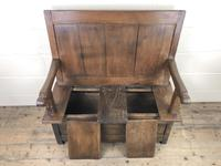 Small Antique Oak & Fruitwood Box Settle (4 of 12)