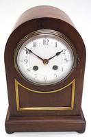 Fine Edwardian Mahogany Balloon Clock Brass Inlay Striking Mantel Clock (2 of 9)