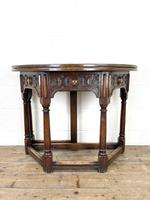 Carved Oak Fold-over Demi Lune Table (2 of 10)