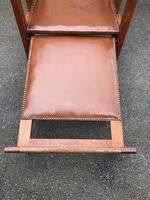 Arts & Crafts Oak & Leather Reclining Armchair (5 of 10)
